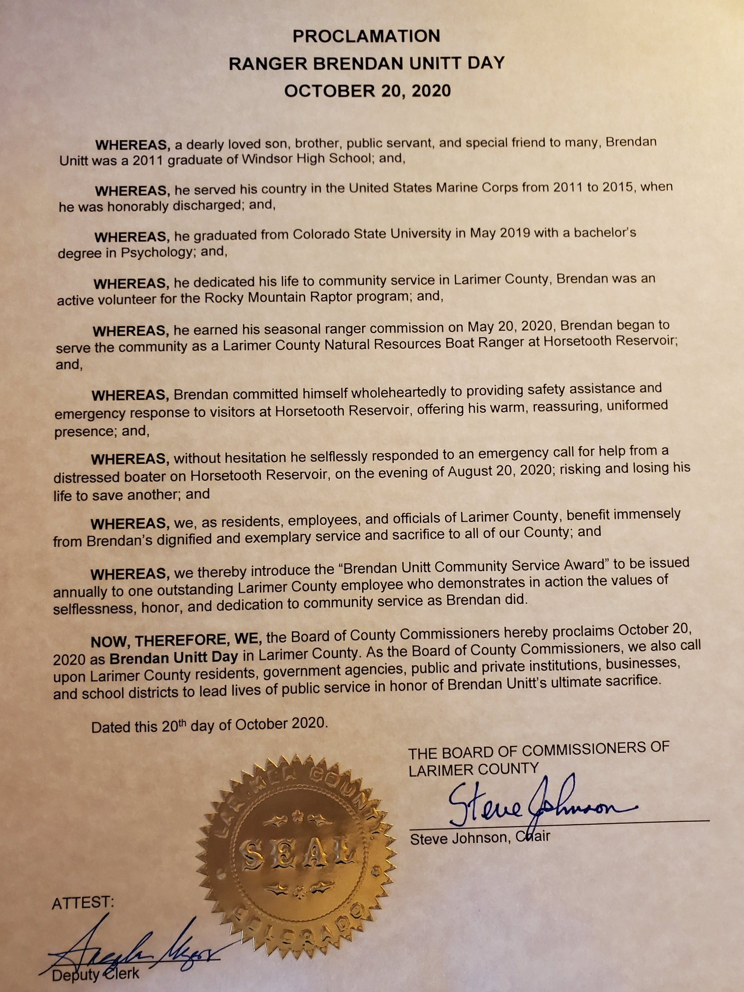 Image 1: Signed Proclamation issued October 20, 2020 as Brendan Unitt Day in Larimer County