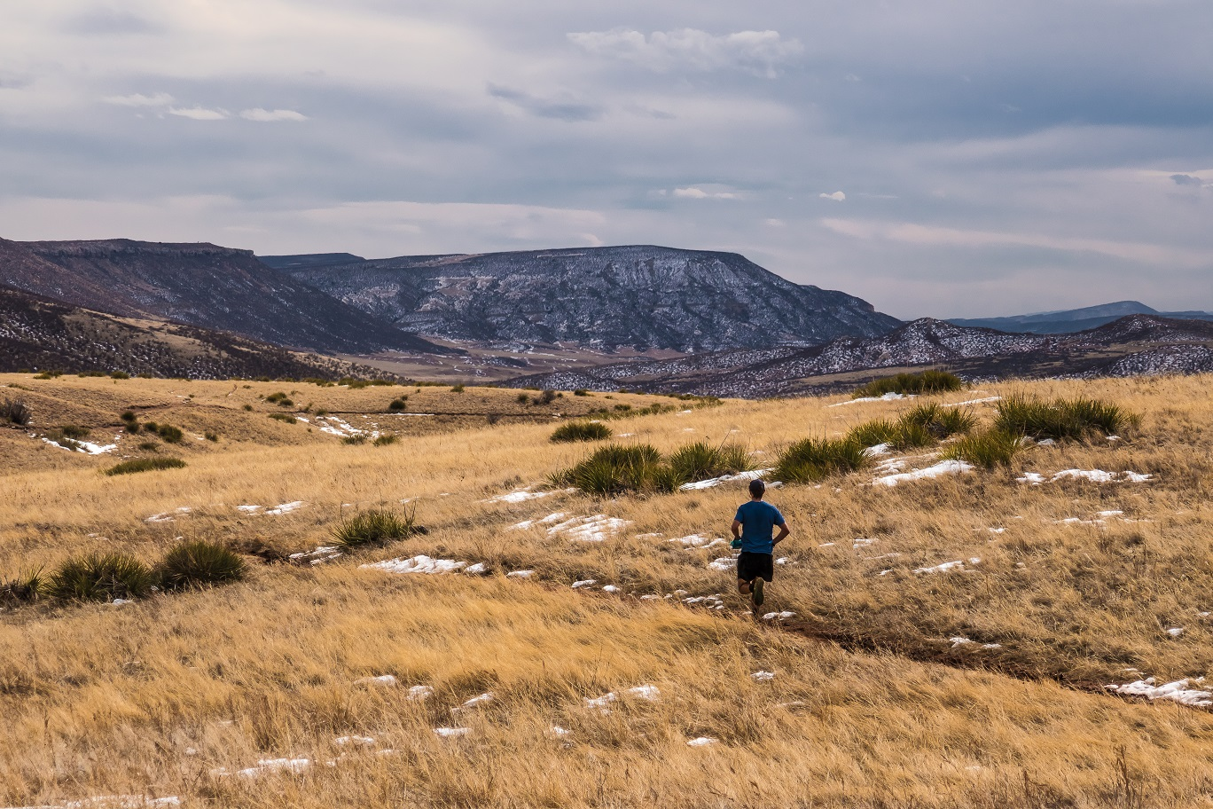 Image 10: trail runner at, red mountain trail