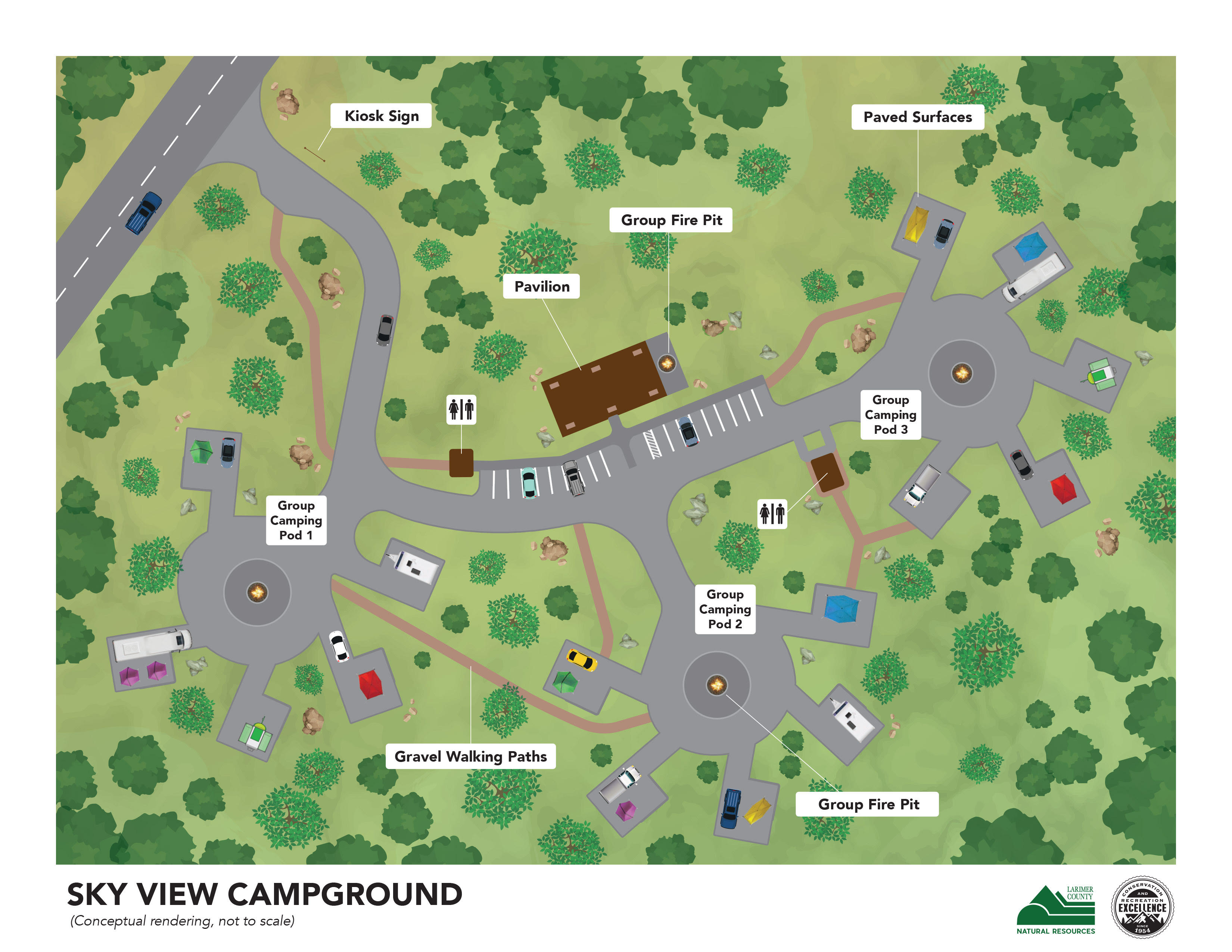 Image 1: Conceptual overhead view of Sky View Campground