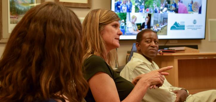 Extension Director Kerri Rollins with Commissioner Gaiter, June 2018. Photo Alisha Jeffers