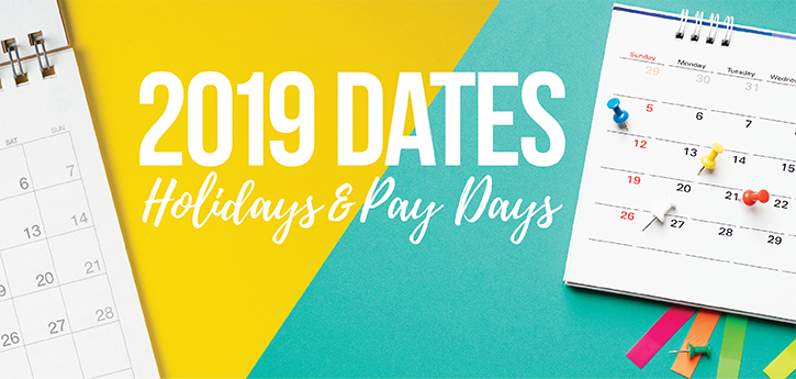 2019 Dates