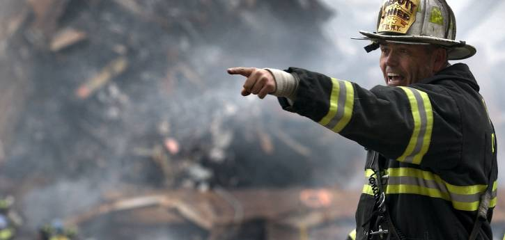 Firefighter pointing