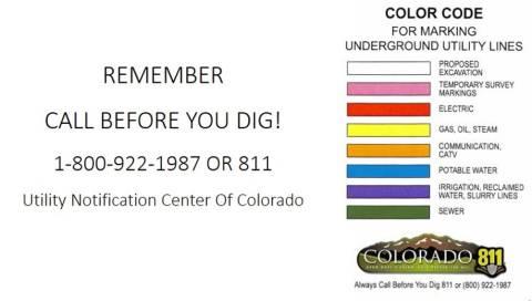 811 Colorado Llame antes de excavar con marcas de color de utilidad