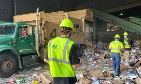 Recycle center tipping floor
