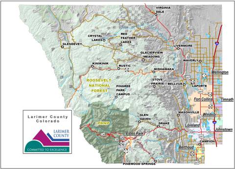 Larimer County Map of cities and landmarks