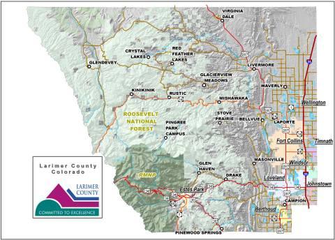 Condado de Larimer Mapa de ciudades y puntos de referencia