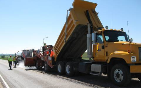 Chip Seal Chip spreader and Tandem Dump Truck