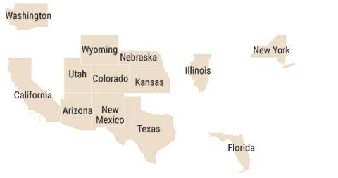 Mapa que muestra 13 estados de empleo competitivo utilizados para la comparación a nivel estatal