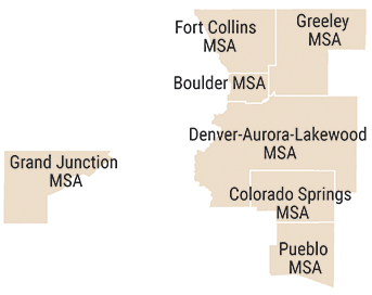 Mapa que muestra 7 MSA de Colorado utilizados para la comparación a nivel de condado