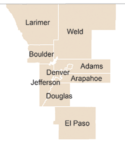 Map showing 9 Colorado counties used for county level comparison