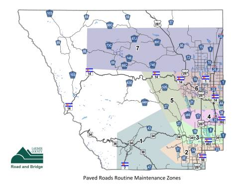 Paved Roads Routine Maintenance Zones map