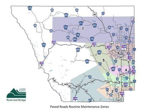 Carreteras pavimentadas Mapa de zonas de mantenimiento de rutina