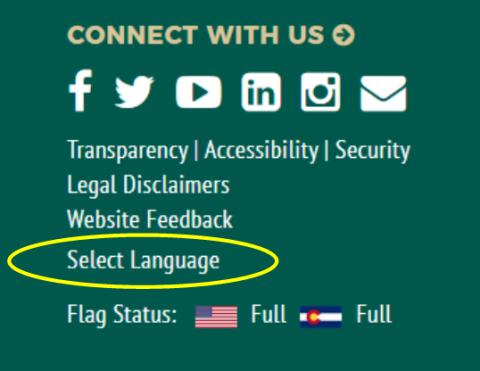 Select language screenshot