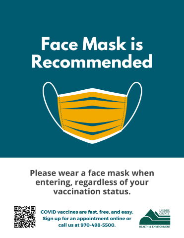 Face mask recommended sign for businesses