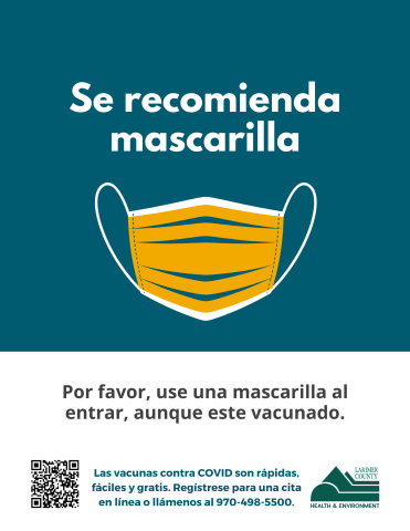Face mask recommended sign for businesses in Spanish