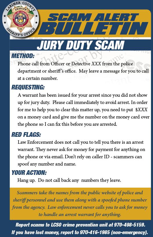 Jury duty scam alert