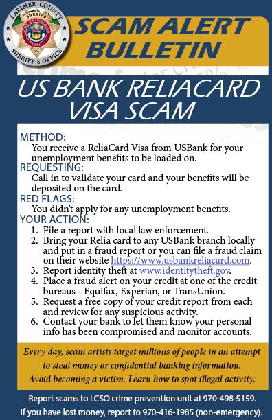 Alerta de estafa de US Bank Reliacard