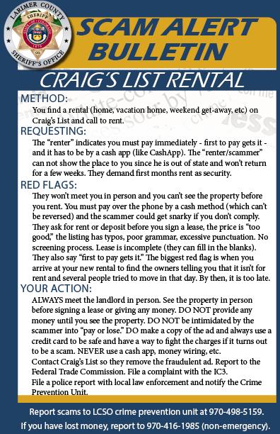 Alerta de estafa de alquiler de Craig's List