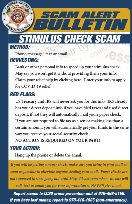 Stimulus check scam alert