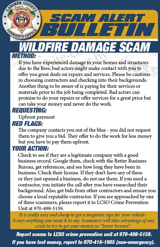 Wildfire Damage Scam Alert