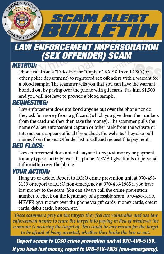 Sex Offender Scam