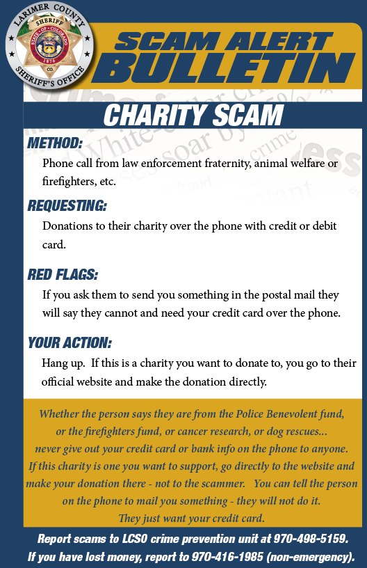 Alerta de estafa de caridad