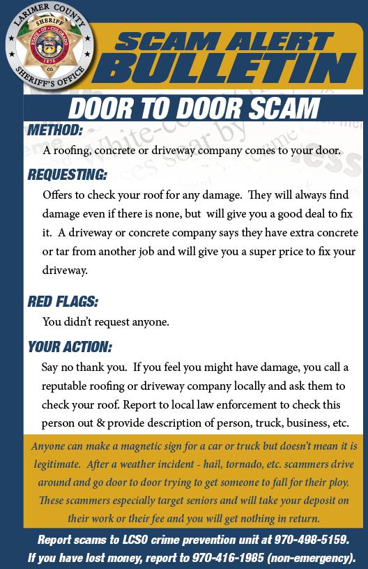 Door to door scam alert