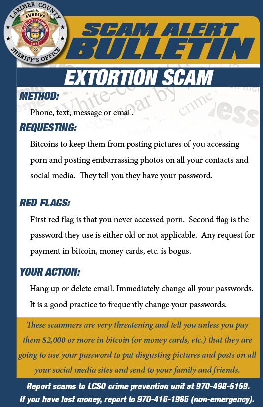 Extortion scam alert