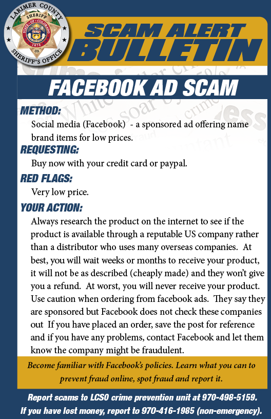 Alerta de estafa de anuncios de Facebook
