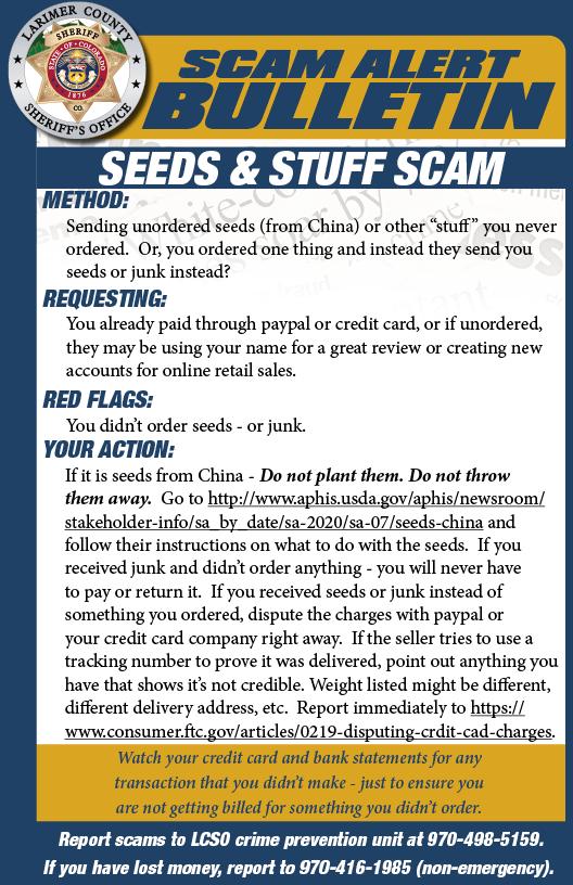 Seeds Scam Alert