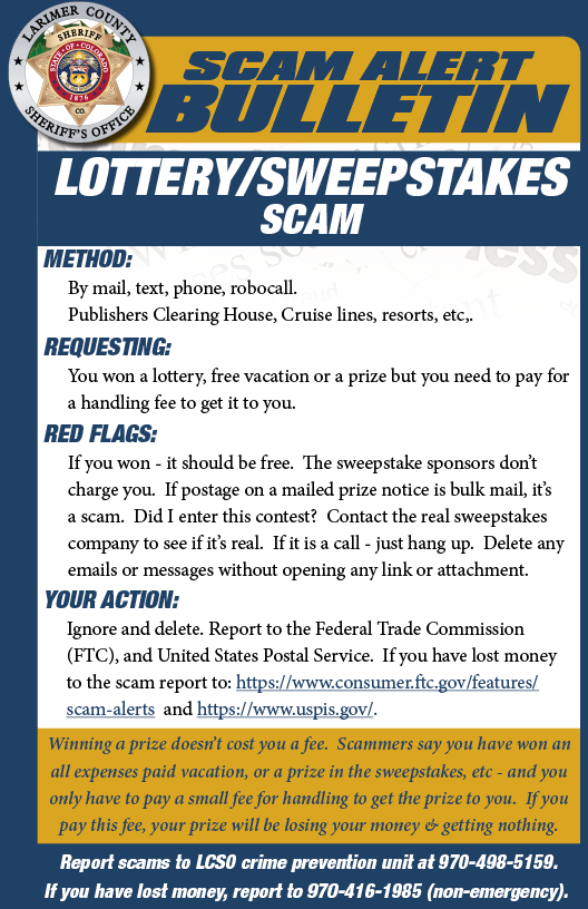 Sweepstakes scam alert