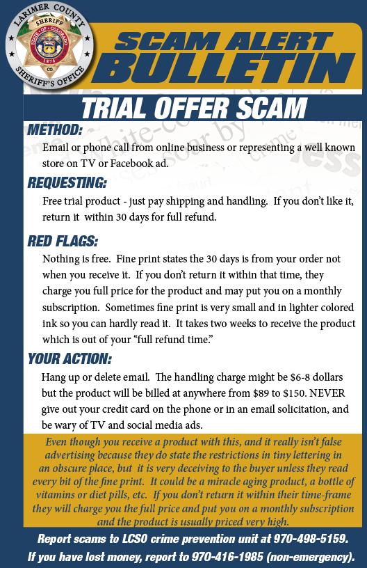 Trial scam alert