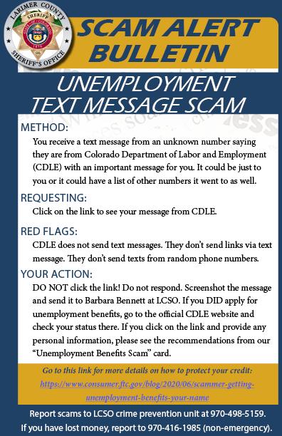 Alerta de estafa por mensaje de texto de desempleo