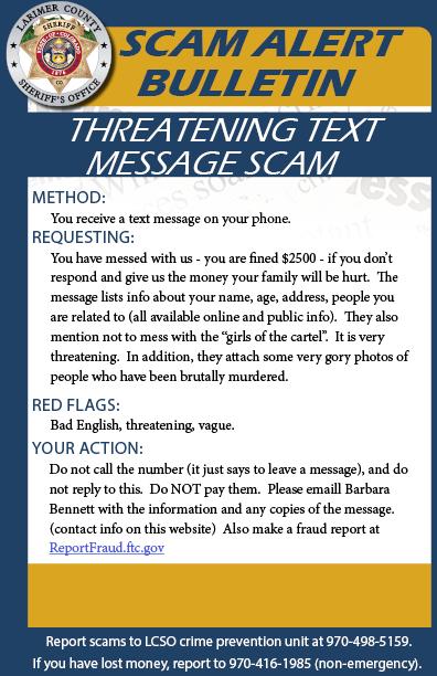 Threatening Text Message Scam Alert