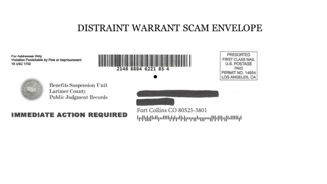 Distraint scam envelope