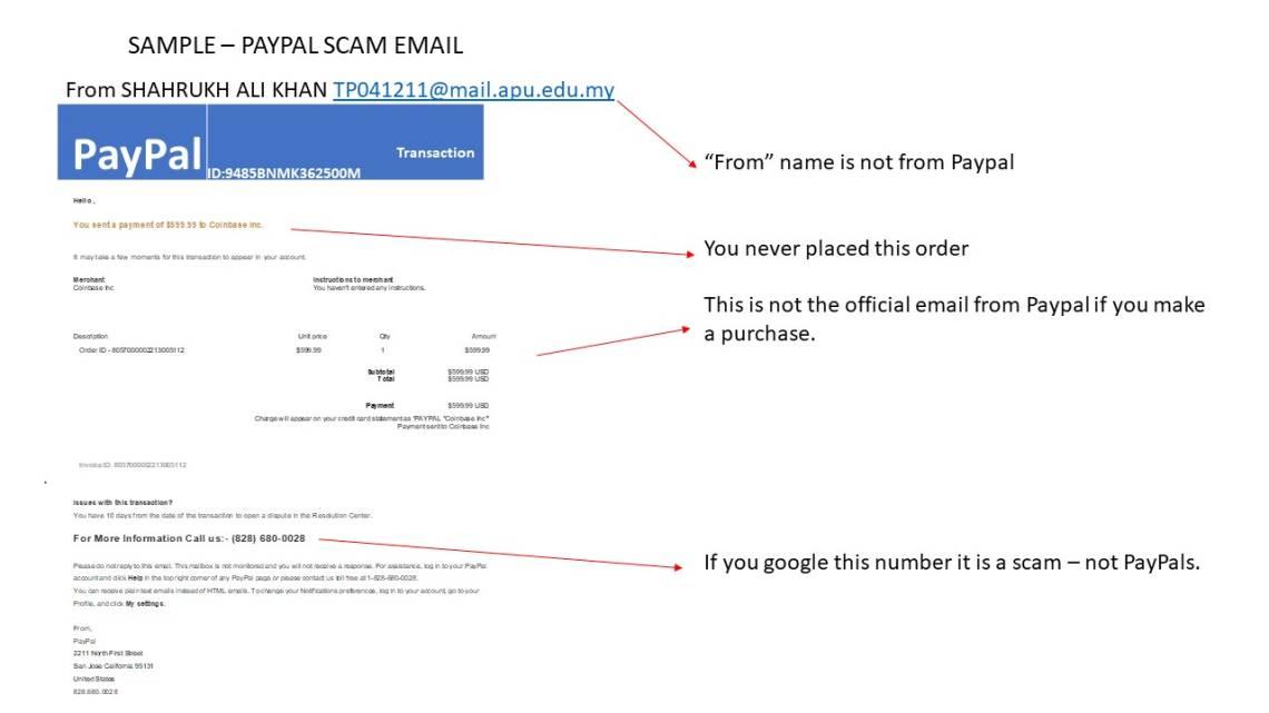 Ejemplo 2 de estafa por correo electrónico