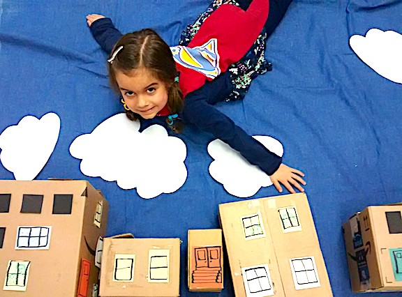 Image 1: Recycling Superhero - made with cardboard, scrap material and paper